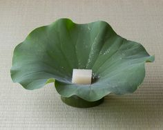Japanese sweets on a lotus leave