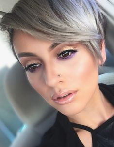 Silver Fox - Pixie Long Bangs Grey color