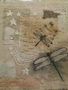 Vintage textile art dragonflies applique mixed media. Emily Henson www.facebook.com/bibliboo