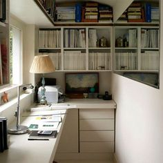 Narrow Office Design with Mirrors to Make it feel larger