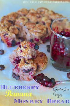 Gluten Free Blueberry Banana Monkey Bread via Allergy Treats/ // Blueberry Bars, Gluten Free Blueberry, Vegan Blueberry, Vegan Gluten Free, Gluten Free Recipes, Dairy Free, Paleo, Gf Recipes, Grain Free