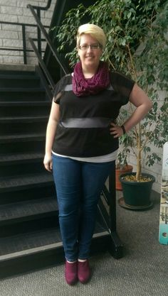 Fatshion OOTD! Top, Torrid. Jeans, Torrid. Scarf, thrifted. Tank, thrifted. Shoes, Mossimo, thrifted.