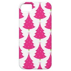 Pretty Pink Retro Christmas Tree Pattern Case For iPhone 5/5S