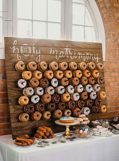 26 Inspiring Chic Wedding Food & Dessert Table Display Ideas - #diyweddingfood - Dessert bars are wildly popular these days. A dessert table is a good idea to amaze your guests as a fun, interactive and delicious addition to the wedding reception. Once you have decided to have a dessert table, you...... Wedding Reception Ideas, Dessert Bar Wedding, Wedding Donuts, Wedding Candy, Wedding Catering, Wedding Receptions, Wedding Food Bar Ideas, Wedding Events, Intimate Wedding Ceremony