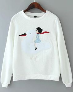 White Round Neck Duck Embroidered Loose Sweatshirt 19.67