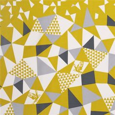 c5cf5ecee150 mountain yellow triangle echino Decoro cotton sateen fabric - Kawaii Fabric  Shop