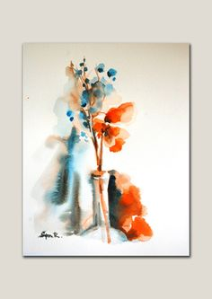 Original Watercolor Abstract Painting. Flower in the by SophieRR, $87.00