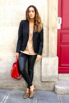 Red bag with black, nude and Leo