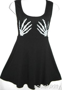 XXL~2X~sexy~SKELETON HANDS~punk/gothic~TATTOO~rockabilly~flare~DRESS~torrid ITEM # #Casual