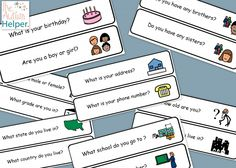 Teach Students How to Answer Personal Information Questions Using Visuals -  free printable :)