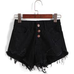 Single-breasted Ripped Fringe Denim Black Shorts ($12) ❤ liked on Polyvore featuring shorts, bottoms, pants, romwe, black, destroyed shorts, denim shorts, distressed shorts, torn shorts and black shorts