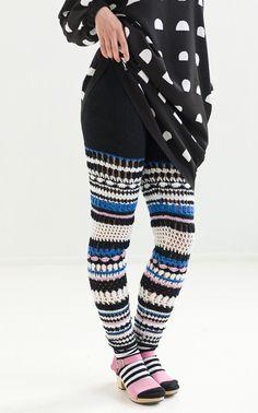 Marimekko knitwear trousers featured in the Novita knitwear magazine, Autumn Finland Quick Crochet, Crochet Fall, Basic Crochet Stitches, Crochet Woman, Crochet Pants, Crochet Skirts, Crochet Slippers, Crochet Clothes, Socks