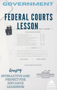 Accelerate and engage your government students' with the Federal Courts Lesson! This product contains PowerPoint with video links, activities such as true or false, video questions, handout to take notes, and an investigation assignment. This is a full 55-minute lesson on the US Federal Courts. This lesson is sure to engage them in the content and make them critically analyze the Judicial Branch.
