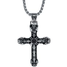 Stainless Steel Black Onyx Centered Cross Pendant Necklace