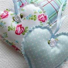 Shabby Chic Blue Polka Dot, Gingham, Floral Hanging Hearts, not with the ribbon roses though ks Valentine Decorations, Valentine Crafts, Valentines, Sewing Crafts, Sewing Projects, Fabric Hearts, Lavender Bags, Heart Crafts, Hanging Hearts
