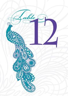 Your place to buy and sell all things handmade Peacock Wedding Invitations, Purple Table, Peacock Theme, Turquoise And Purple, Table Numbers, Print And Cut, Card Stock, Paisley, Lettering
