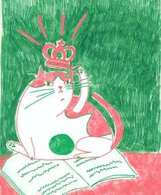 cat illustration by Jagoda Jankowska  instagram: @blueberry.kingdom Blueberry, Illustrations, Cat, Christmas Ornaments, Holiday Decor, Kids, Instagram, Young Children, Berry
