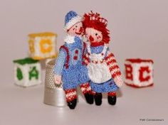 Beloved Raggedy Andy & Ann by Jenny Tomkins Dollhouse Miniatures, Ann, Artisan, Christmas Ornaments, Holiday Decor, Handmade, Dollhouses, Hand Made, Doll House Miniatures