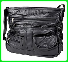 Home-X Patchwork Leather Handbag Black - Crossbody bags (*Amazon Partner-Link)