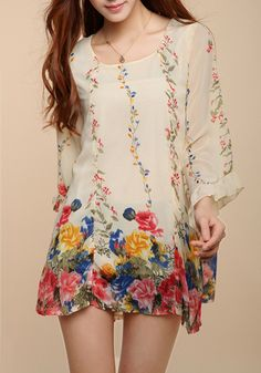 Multicolor Flowers Round Neck Lotus Sleeve Chiffon Blouse