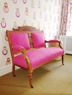 Just delivered — our client's antique Eastlake settee, reupholstered in Maxwell Fabrics's Gig Harbor in Fuschia. This lovely piece will be going in their little girl's room. It is being passed down through three generations — from grandparents to granddaughter!
