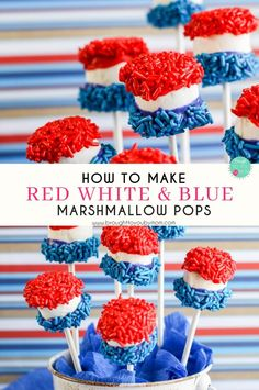 Are you look for something fun to decorate and enjoy the of July? These Red White and Blue Candy Marshmallow Pops are perfect! Great for a of July table decoration. 4th Of July Desserts, Fourth Of July Food, Desserts For A Crowd, 4th Of July Party, Party Desserts, Food For A Crowd, July 4th, Decorated Marshmallows, How To Make Red