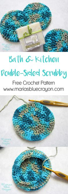 Crochet Scrubby for Bath & Kitchen   Free Crochet Pattern   Double-Sided, Extra Thick Scrubby   Small Crochet Project   Easy and Quick Crochet