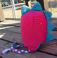 1-5 years Hot Pink/Turquoise Dinosaur Earflap Beanie. $20.00 on Etsy