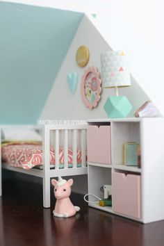 cute modern contemporary scandi style way to decorate a childrens bedroom in your real house too amazing DIY dollhouse by craftiness is not optional