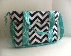 Extra Large Chevron Diaper bag Made of Black and White with Tiffanyt Blue Fabric / Elastic Pockets