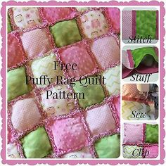"Free Puffy Rag Quilt Pattern Finished Size:  32"" x 32"""