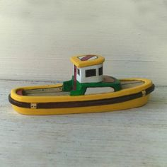 Yellow  Bosun Toy  Wooden  Boat by FriendlyFairies on Etsy, $26.00