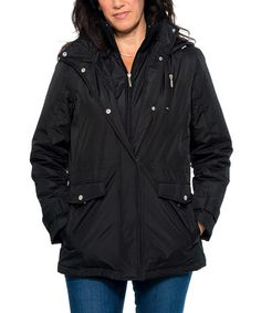 Another great find on #zulily! Black Hooded Coat #zulilyfinds