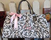 Set of 7 Grey/Silver Floral Bridesmaid Weekender Bags