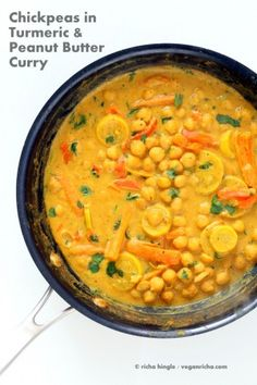 Chickpeas in Turmeric Peanut Butter Curry. Easy Nut Butter Curry Sauce with Summer veggies and Chickpeas. #Vegan #Glutenfree #Soyfree #Recipe | VeganRicha.com