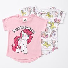 My Little Pony fans will love this 2 pack of print tees! My Little Pony character print. My Little Pony Characters, Rolled Hem, Printed Tees, Sleeves, Kids, T Shirt, Clothes, Fashion, Young Children