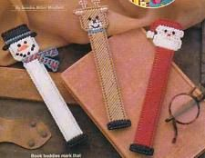 CHRISTMAS PALS BOOKMARKS SANTA SNOWMAN PLASTIC CANVAS PATTERN INSTRUCTIONS ONLY
