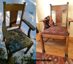 Maybe some of Mom's Dining chairs Old Chair Redo Chair Redo, Chair Makeover, Diy Chair, Furniture Makeover, Furniture Decor, Wood Folding Chair, Vintage Chairs, Take A Seat, Furniture Restoration