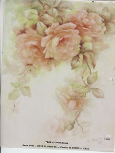 Coral Roses 104 by Jean Fehl China Painting Study 1982 | eBay