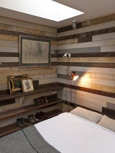 Reclaimed Wood Walls- I couldn't handle THAT much, but one wall as an accent would be wonderful!  Also, I like the shelves for one of the off walls.