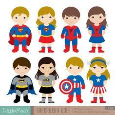 36 Kids Superhero Costumes Clipart Superheroes Kids by LittleMoss Superhero Costumes Kids, Superhero Kids, Superhero Characters, Superhero Party, Superhero Clipart, Conception Web, Web Design, Easy Canvas Painting, Clip Art