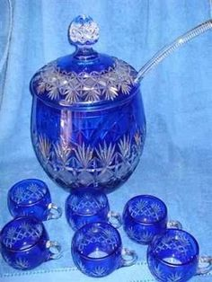 bohemian punch bowl sets | Blue crystal punch bowl set