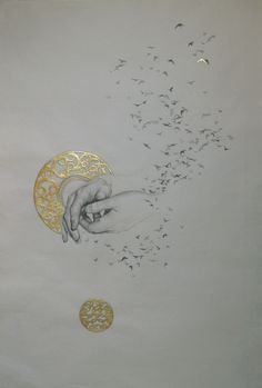 Whispers, by Amanda Burk, 2010, graphite and gold leaf on washi