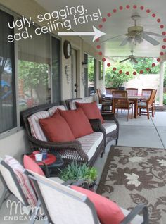Outdoor patio lighting & ceiling fan makeover!
