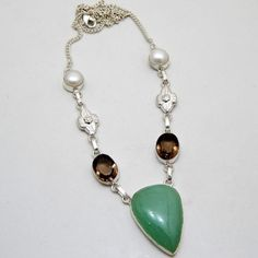 925 Sterling Silver Plated Pendant, NIB Gorgeous!! Aquamarine, Smoky Brown Quartz & Pearl Jewelry