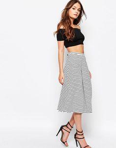 Image 1 ofNew Look Stripe Midi Skirt