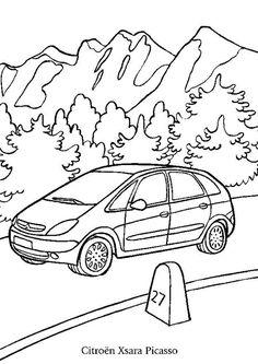 Une jolie Citroën Xsara Picasso roulant près des montagnes à colorier