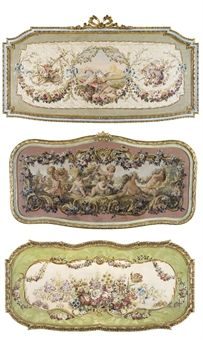 THREE FRENCH FRAMED PAINTED TAPESTRY CARTOONS