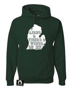 Adult Lions & Tigers & Wings Oh Mi! Detroit Michigan Sports Sweatshirt Hoodie
