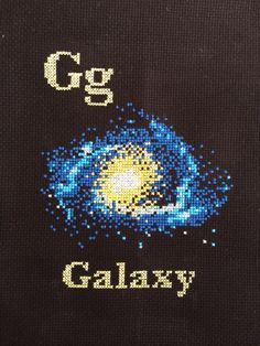 G is for Galaxy cross stitch space flash card by Hugs are Fun